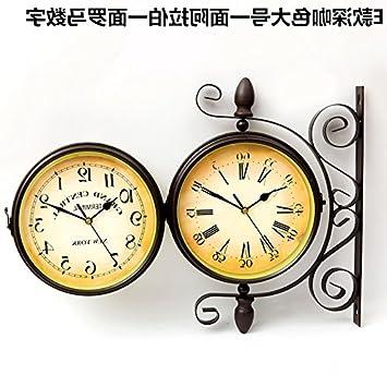 HUANGYAHUI Despertador Plancha De Doble Cara Reloj De Pared Colgado En La Pared De La Sala