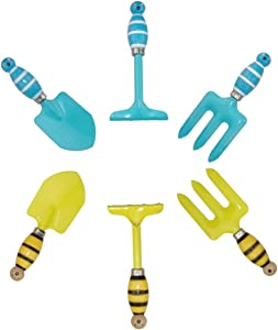 Kids Gardening Tool Sets Strip Bee Handle, Pack of 2 Sets (Blue+ Yellow), Mini Small Garden Tool Kit for Children, Beach Sand Play Tool and Toy, Sandbox and Soil Hand Tool Birthday Gifts Party Favors