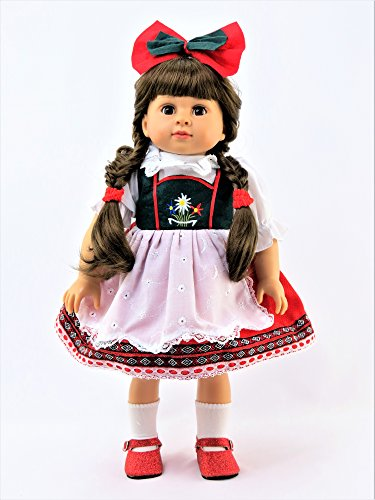 [Traditional Swiss-German Green, Red, & White Dress for 18 Inch Dolls #364] (German Dress)