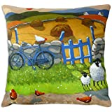 On Ewer Bike Funny Sheep Cushion Gift by Thomas Joseph by Thomas Joseph