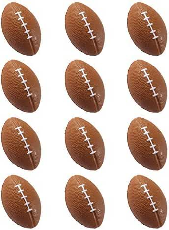Mini Sports Balls for Kids Party Favor Toy, Soccer Ball, Basketball, Football, Baseball Squeeze Foam for Stress, Anxiety Relief, Relaxation. ((Footballs)) by Wall2Wall