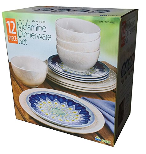 Laurie Gates - 12 Piece Melamine Dinnerware Set (Blue & White)