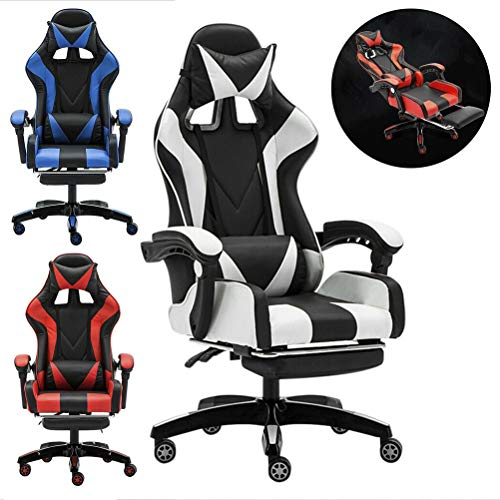 KEANTY Ergonomic Computer Office Racing Gaming Chair Large Size PU Leather High Back Widen Thicken Seat Retractable Footrest Lumbar Support (White) Story of Next Day