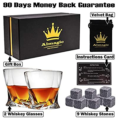 Almagic Whiskey Glass Set of 2 Lead Free Crystal Old Fashioned Glass 11oz for Scotch or Bourbon Gift Boxed (Free 9 Granite Chilling Whiskey Stones + Velvet Bag)