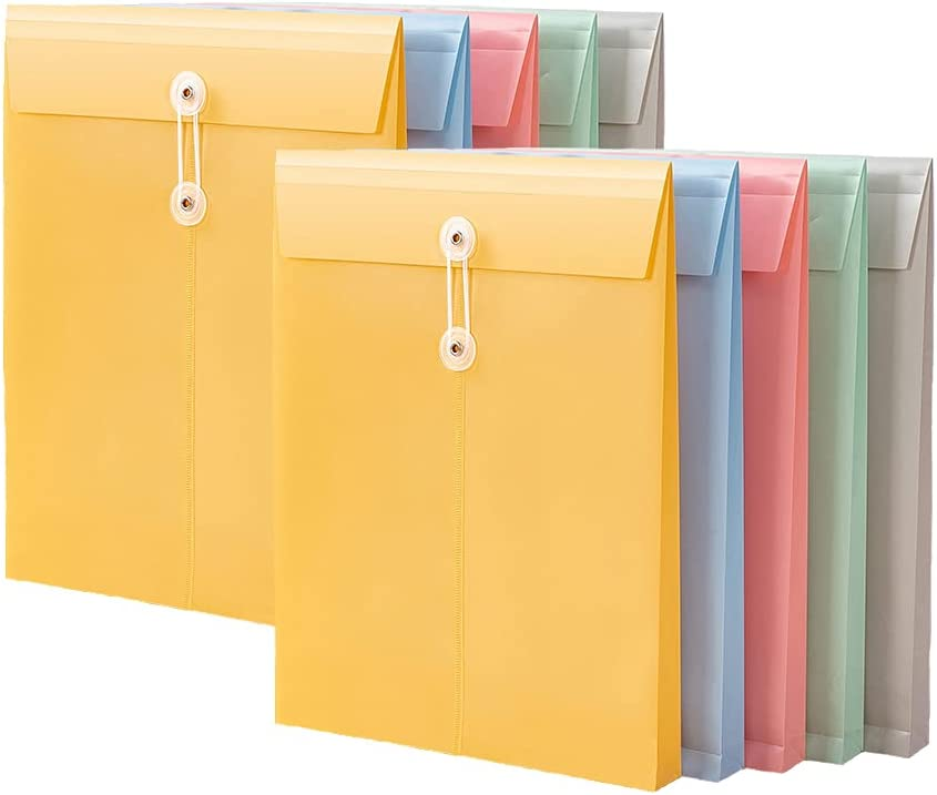 Plastic Envelope File Folder with Button & String Tie Closure, 10Pcs Document File Sorting Preservation Privacy Waterproof Durable for School Homework Work Office Organization