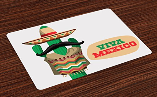 Lunarable Mexican Place Mats Set of 4, Viva Mexico Quote Near The Human Body Shaped Cactus Plant with Moustache Print, Washable Fabric Placemats for Dining Room Kitchen Table Decoration, Green Cream