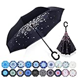 Amersin Double Layer Inverted Umbrella Cars Reverse Open Folding Umbrellas, Windproof UV Protection Large Self Stand Upside Down Straight Umbrella for Golf Women and Men with C-Shaped (Peach Blossom)