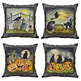 Halloween Pillow Covers Set of 4 Vintage Mural Pumpkin Witch Black Cat Tombstone Print Square Throw Pillow Case Decorative Sofa Couch Bed Car Cushion Pillowcase Halloween Home Decorations