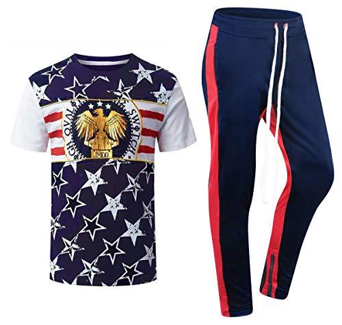 ALMAS APPAREL New Men Stripe Zip Pocket Track Pants Sweatsuit Men's Tracksuits Zipper Joggers (Medium, Blue-Stars)