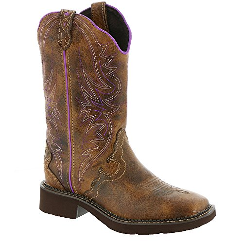 Justin Ladies Gypsy Sq Toe 12in Tan Waxy Boot 10