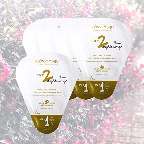 BLOSSOM JEJU White Camellia Soombi 2-Step Pure Brightening Petal Facial Mask Sheets x 5 Sachets 137.g/4.8 oz. | Pure Brightening | Ultra Thin Silky Fiber Sheet from Cotton Seed | (Blossom Island Light)