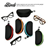 BIRCH's Portable Zipper Eye Glasses Sunglasses Semi Hard Case Protector Box. Colored Zipper Line.