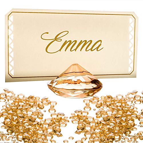 GOLD Diamond Table Number & Name Place Card Holder (20 Pieces) and Diamond Table Confetti (with over 6,000 diamonds) Party and Wedding Table Decorations (Place Card Holders Party Favors)