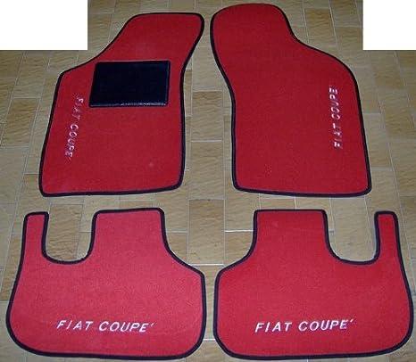 Tappeti per auto set completo di Tappetini in Moquette su Misura Neri con Ricamo a Filo Rosso