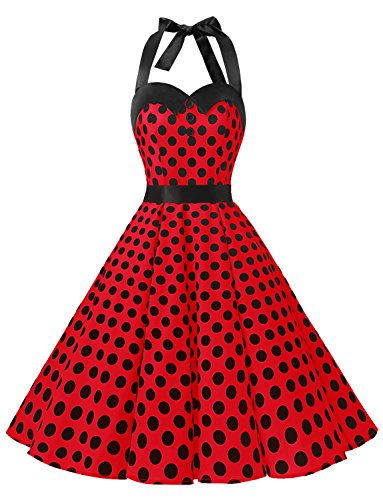 Dressystar Vintage Polka Dot Retro Cocktail Prom Dresses 50's 60's Rockabilly Bandage Red Black Dot (50's Fashion For Women)
