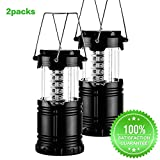 LED Camping Lantern - Menton Ezil Collapsible Portable LED Camping Lantern Flashlights, Outdoor Tent Lamp Survival Kit for Emergency, Hurricane, Outage (Black)