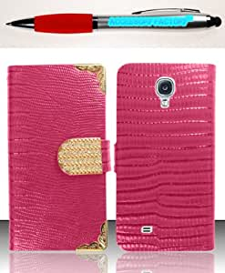 Accessory Factory(TM) Bundle (the item, 2in1 Stylus Point Pen) For Samsung Galaxy S5 - Horizontal EXCLUSIVE DIAMOND Flap Pouch w Credit Card Pockets S1 Purple ECFHP Case Cover Protector