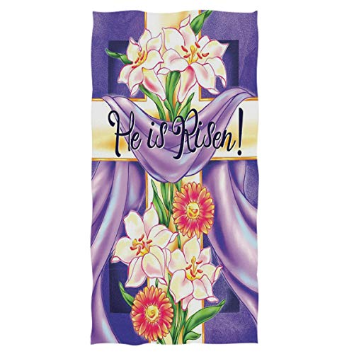 - Wamika Easter Cross He is Risen Hand Towels Lilies Spring Flower Ultra Soft Bath Towel Highly Absorbent Multipurpose Bathroom Towel for Hand,Face,Gym,Spa, Happy Easter Day Holiday Decor,16x30 in