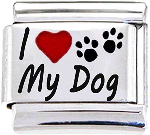- Stylysh Charms Dog I Love My PET PAW RH Laser Italian 9mm Link DG418