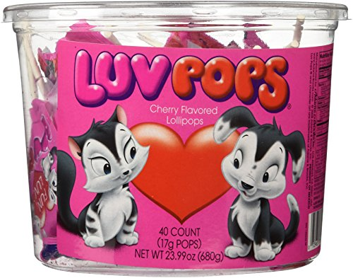 Luv Pops Cherry Flavored 40ct. Tub (Love Lollipop Heart)