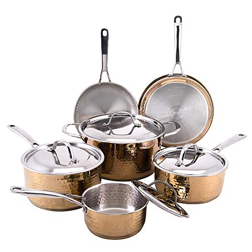 Hammered 10pc Copper Cookware Set - Cooks Club stainless steel copper pots and pans set, Copper pans, Copper cookware - Dishwasher Safe