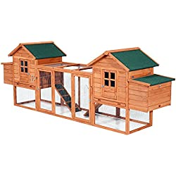 """PawHut 124"""" Dual Backyard Chicken Coops with Outdoor Ramps and Nesting Boxes"""