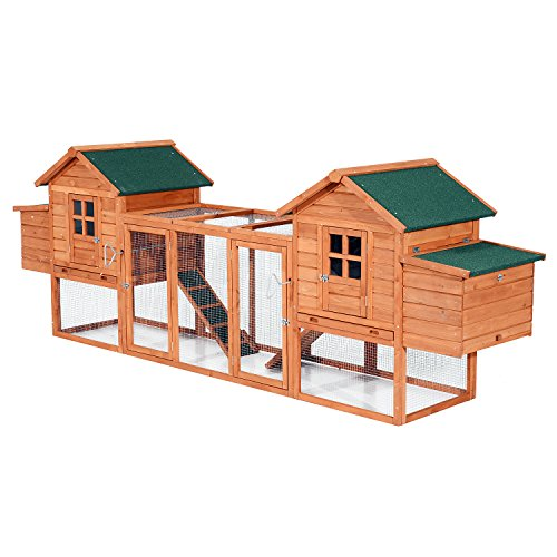 Pawhut Wooden Chicken Coop w/Nesting Box and Outdoor Run