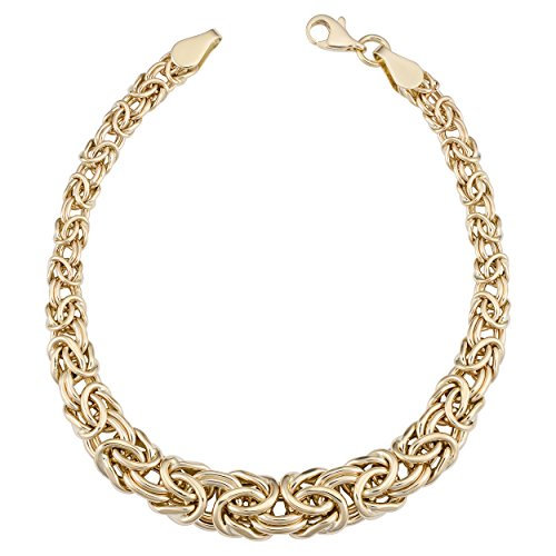 (Kooljewelry 14k Yellow Gold Graduated Byzantine Bracelet, 7.5