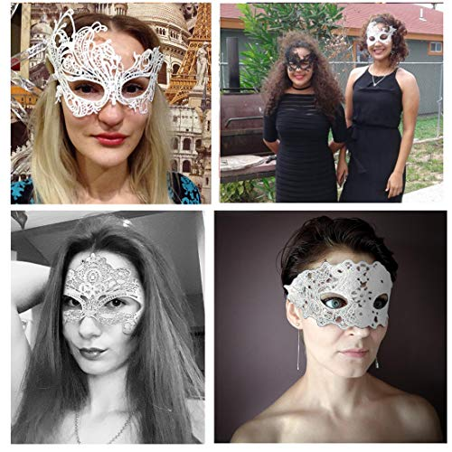 iMucci Sexy Lace Masquerade Party Masks - Venetian Style Halloween Party Ball Prom Eye Mask (White,Pack of 12pcs) ()