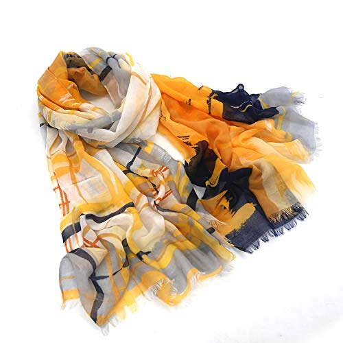 Women scarfs lightweight in fashion leopard print Long and large infinity wraps (yellow stripe, 71