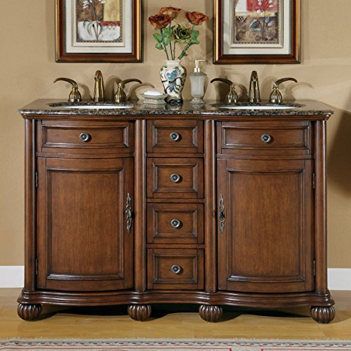 Silkroad Exclusive Baltic Brown Granite Top Double Sink Bathroom Vanity with Cabinet, 52-Inch by Silkroad Exclusive