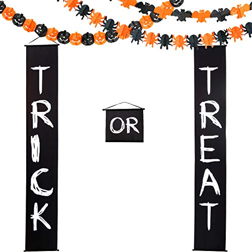 Halloween Paper Garland Crafts (Halloween Decoration Set Trick or Treat Banner Halloween Paper Chain for Home Indoor/Outdoor Halloween Decorations with Halloween Paper Garlands Pumpkin Spider Bat Shape (Black White Paper)