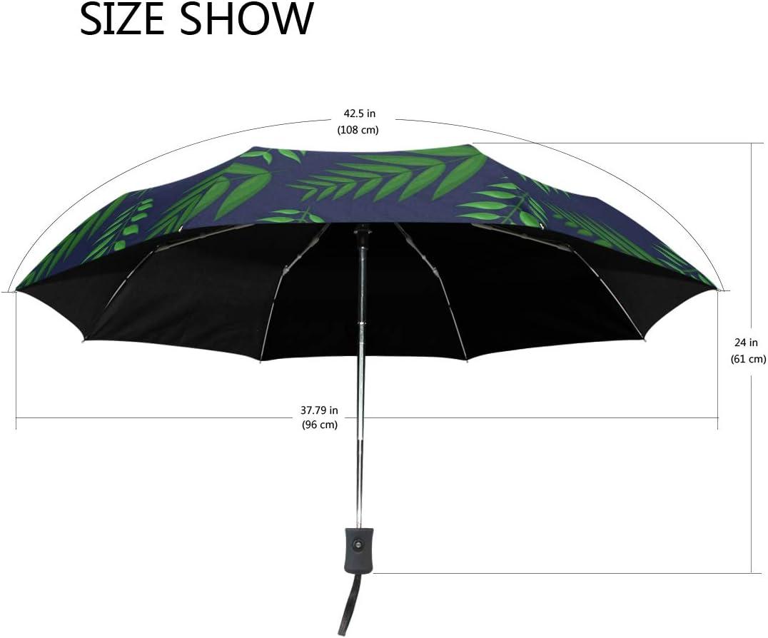 Plant Small Tropical Palm Leaves fashion print cute Windproof automatic tri-fold umbrella sun UV protection Sun umbrella