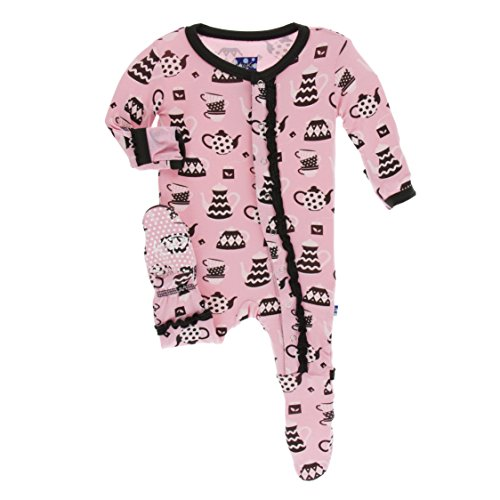 Kickee Pants Little Girls Print Muffin Ruffle Footie with Snaps - Teatime, 12-18 Months