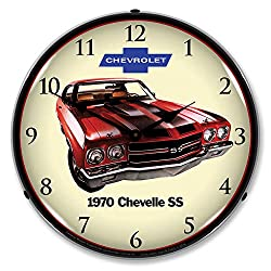 1970 Chevy Chevelle SS LED Wall Clock, Retro/Vintage, Lighted, 14 inch