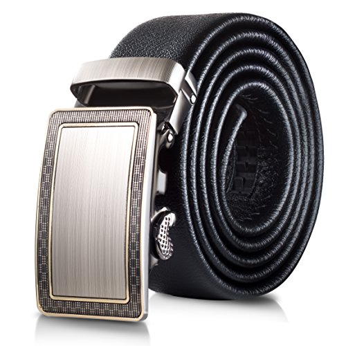 Mio Marino Classic Ratchet Belt - Premium Leather - 1.38 Wide - Adjustable Buckle - Free Gift Box - Ornate Outline Ratchet Belt - Black - Adjustable from 26