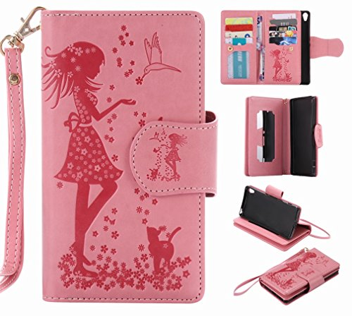 Pu Tarjetas Diseño rosa Cuero Yiizy Sony Carcasa Funda Billetera Piel Ranura Para Estilo K200ds Protector Estuches Xperia Repujado Cover Xa Cáscara Chica CPwfHq0