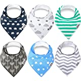 Swish Baby Bandana Drool Bibs for Drooling and Teething - Unisex 6 Pack Gift Set for Boys and Girls, 100% Organic Cotton, Super Soft and Absorbent