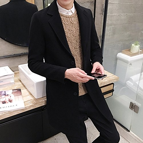 and Overcoat Mens Tomatoa Black Formal Boys Long Breasted Outwear Wool Long Jackets Teens Winter Jackets Jacket Winter Men Jackets Figuring Men for Single BqRfvXqW