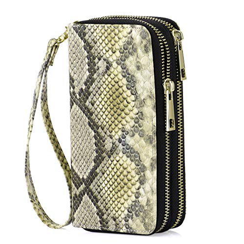 HAWEE Cellphone Wallet Dual Zipper Wristlet Purse with Credit Card Case/Coin Pouch/Smart Phone Pocket Soft Leather for Women or Lady, Snakskin Yellow