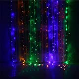 Multicolor (Lights Only), Yeefant Safe Low Voltage 300 Pcs Led Waterproof Curtain Fairy Lights for Indoor Outdoor Christmas Tree Festival Wedding Party Garden Wall Patio Backyard Home Decor,9.8x9.8 ft