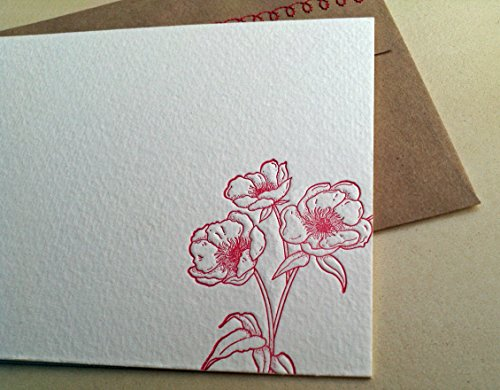Letterpress Stationery (Red Flower Letterpress Stationery with Sewn Envelope - 5 pack)
