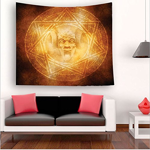 Nalahome-Horror House Decor Demon Trap Symbol Logo Ceremony Creepy Ritual Fantasy Paranormal Design Orange tapestry psychedelic wall art tapestry hanging 59W x 59L Inches 43.3W x 43.3L Inches by Nalahome