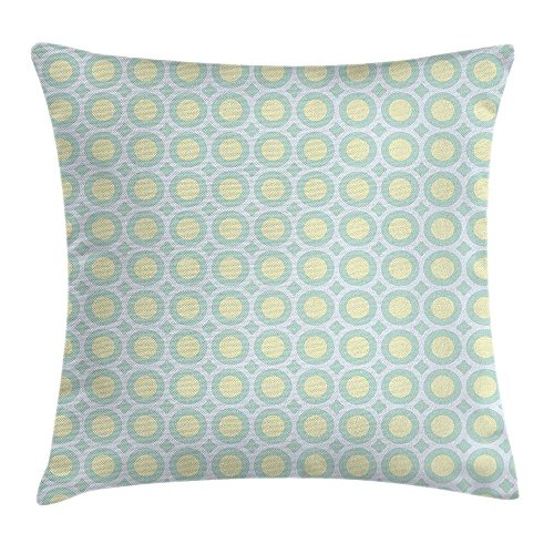 Aqua Throw Pillow Cushion Cover, Retro Circles Inner Dots 60s 70s Inspired Horizontal Artwork, Decorative Square Accent Pillow Case, 18 X 18 Inches, Yellow Pale Blue White and Seafoam