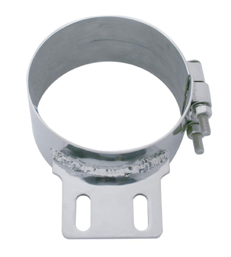 United Pacific 10320 6 inch Stainless Steel Butt Joint Exhaust Clamp with Straight Bracket