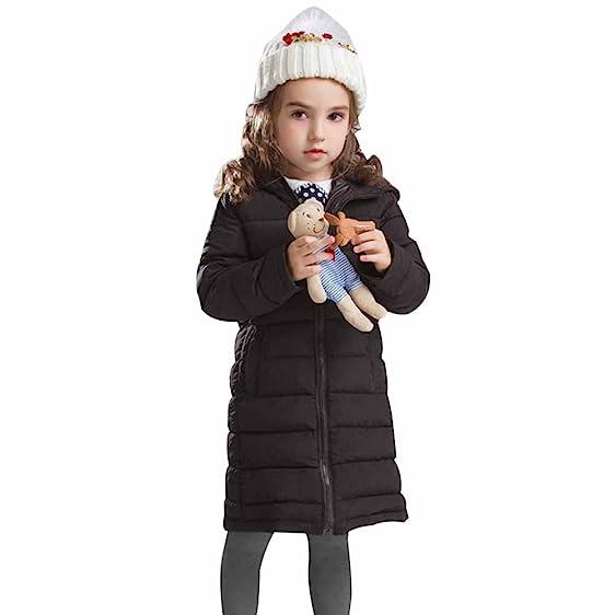 Amazon.com: LSERVER Little Girls Hooded Coats Long Lightweight ...