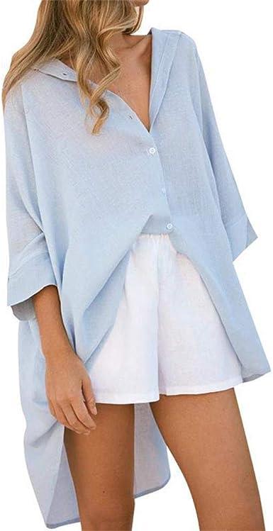 Mujer Camisa Larga - Manga Larga Blusa con Botones Moda Otoño Primavera Casual Mini Vestido Túnica Camisetas Tops: Amazon.es: Ropa y accesorios