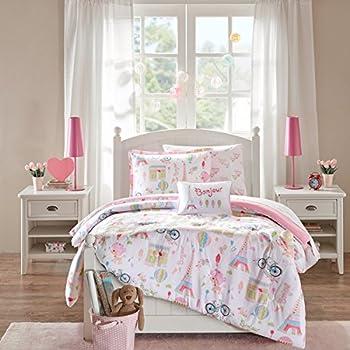 i love paris girls full pink white and black cute parisian bedding set 6 piece bed. Black Bedroom Furniture Sets. Home Design Ideas