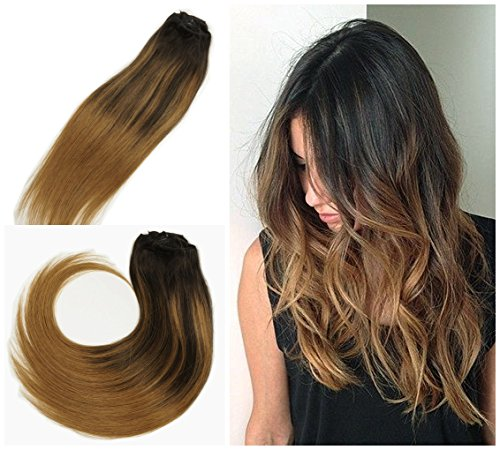 Alizee Hair Extensions Clip in Human Hair Brunette Balayage Highlights  Caramel Brown on Dark Brown Hair 20 inches Natural Ombre Color 2/6/6  Fusion