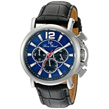 Lucien Piccard Men's 'Triomf' Quartz Stainless Steel and Leather Automatic Watch, Black (Model: LP-40018C-03)